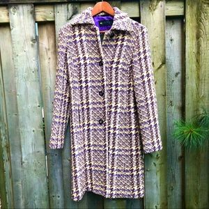 Purple Boucle Wool Overcoat Houndstooth Co…